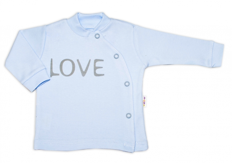 Baby Nellys Bavlněná košilka Love zapínání bokem - modrável. 50 (0-1m)