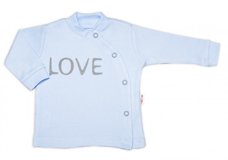 Baby Nellys Bavlněná košilka Love zapínání bokem - modrá, vel. 56vel. 56 (1-2m)