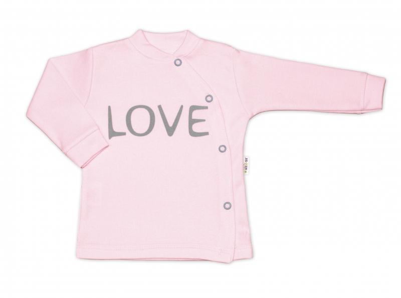 Baby Nellys Bavlněná košilka Love zapínání bokem - růžovável. 50 (0-1m)
