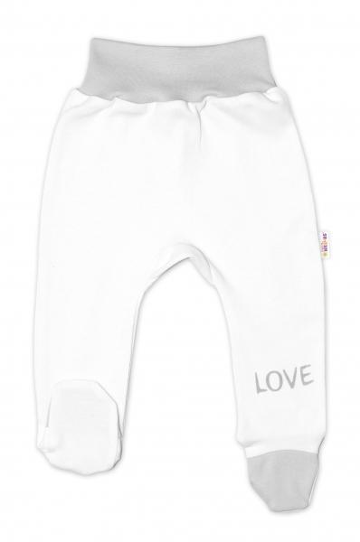 Baby Nellys Kojenecké polodupačky, bílé - Love, vel. 56