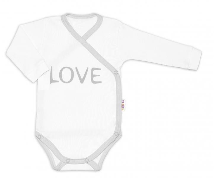 Baby Nellys Body dlouhý rukáv Love - zapínání bokem, bílé, Velikost: 50 (0-1m)