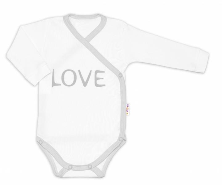 Baby Nellys Body dlouhý rukáv Love - zapínání bokem, bílé, vel. 56, Velikost: 56 (1-2m)