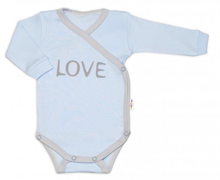 Baby Nellys Body dlouhý rukáv Love - zapínání bokem, modré, vel. 68