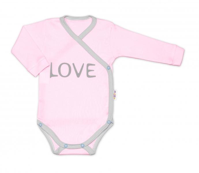 Baby Nellys Body dlouhý rukáv Love - zapínání bokem, růžové, vel. 74
