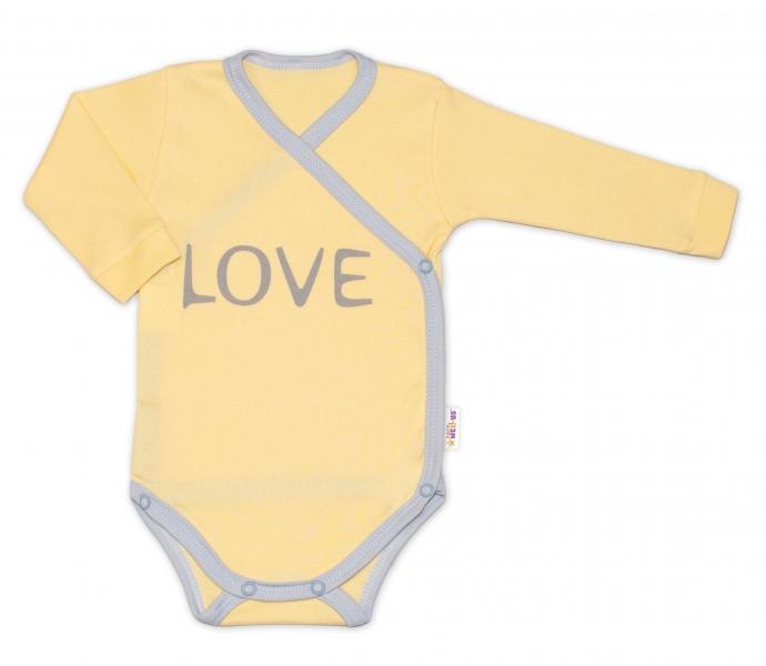 Baby Nellys Body dlouhý rukáv Love - zapínání bokem, žluté, vel. 74