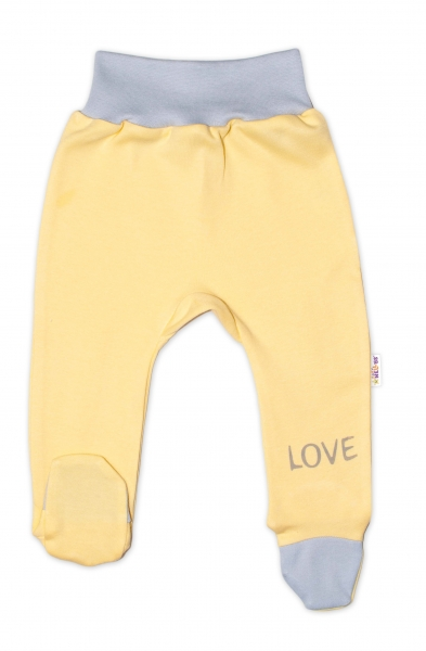 Baby Nellys Kojenecké polodupačky, žluté - Love, vel. 50