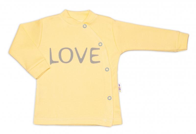 Baby Nellys Bavlněná košilka Love zapínání bokem - žlutável. 50 (0-1m)