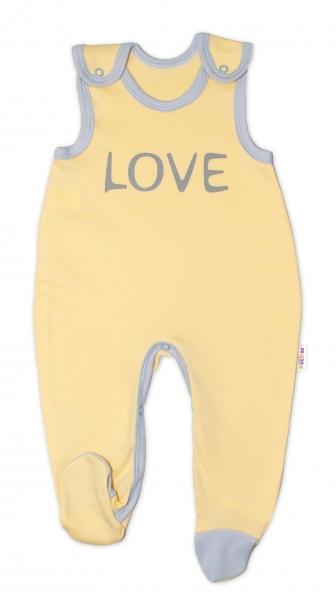 Kojenecké bavlněné dupačky Baby Nellys, Love - žluté, vel. 56