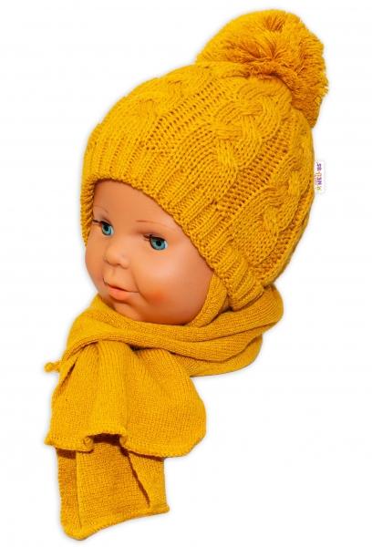 BABY NELLYS Zimní pletená čepička s šálou Baby Bear - hořčicová s bambulkou, Velikost: 34/36 čepičky obvod