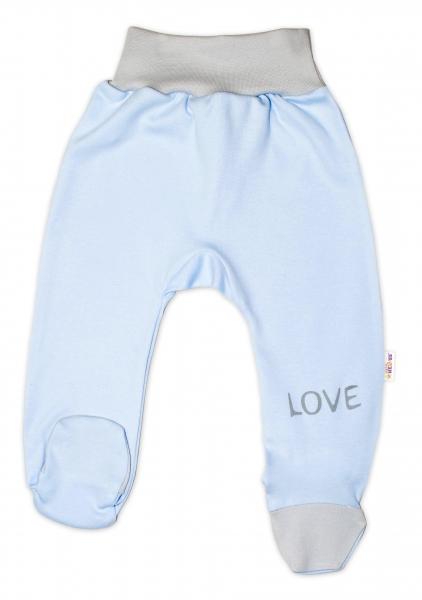 Baby Nellys Kojenecké polodupačky, modré - Love, vel. 74vel. 74 (6-9m)