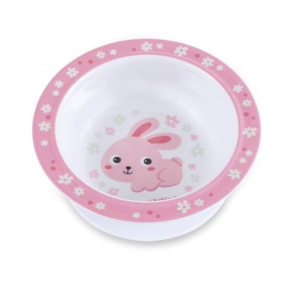 Canpol babies Melaminová miska s přísavkou Zajíček - růžový