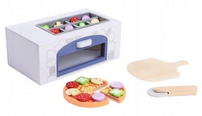 Eco Toys Dřevěná pizza pec + kuchyňské doplňky