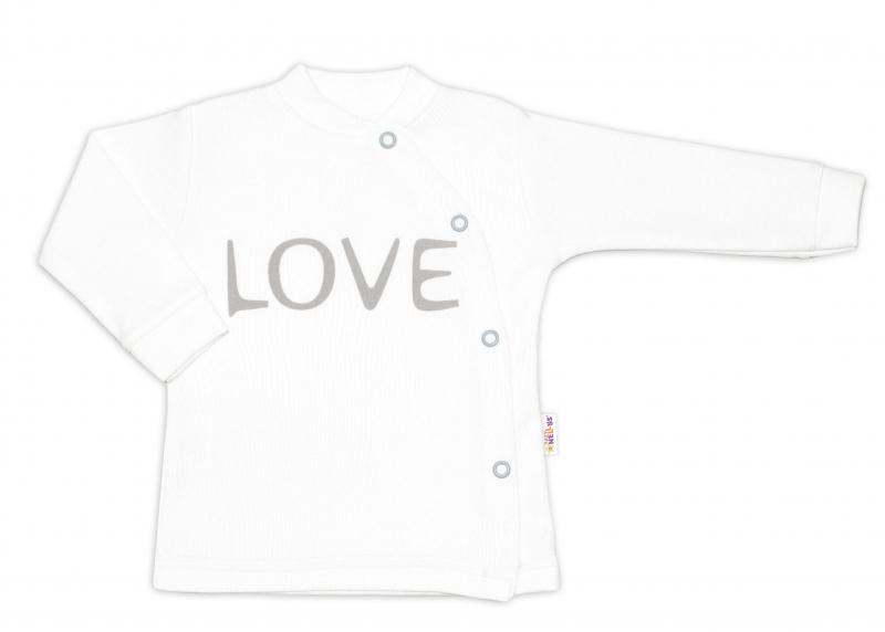 Baby Nellys Bavlněná košilka Love zapínání bokem - bílá, vel. 68