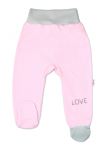 Baby Nellys Kojenecké polodupačky, růžové - Love, vel. 74, Velikost: 74 (6-9m)