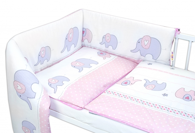 Baby Nellys 3-dílná sada - mantinel s povlečením Sloni - růžové, 135x100 cm