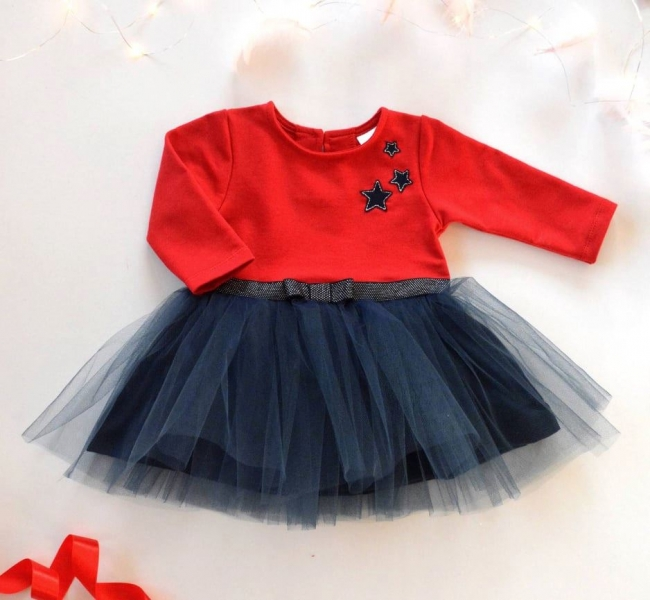 Dětské Tutu šatičky K-Baby, Hvězdičky - červená/tm. modrá, vel. 98