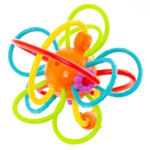 Euro Baby Edukační hračka - chrastítko - propletený míček - oranžový