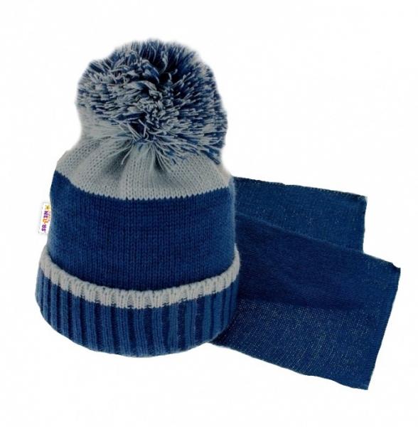BABY NELLYS Zimní čepice s bambulí a šálou - tm. modrá/šedá