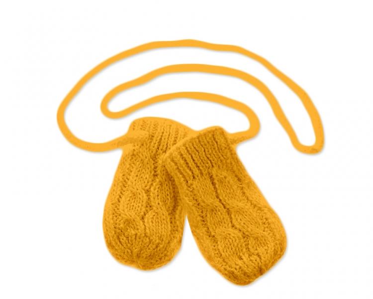 BABY NELLYS Zimní pletené  kojenecké rukavičky se vzorem - hořčicové