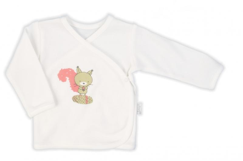 Nicol Novorozenacká bavlněná košilka Forest - zapínání bokem - bílá