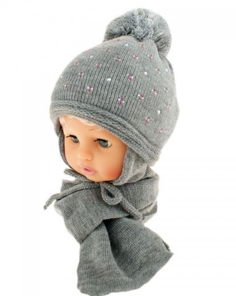 BABY NELLYS Zimní čepice s bambulí a šálou - šedá s kamínky