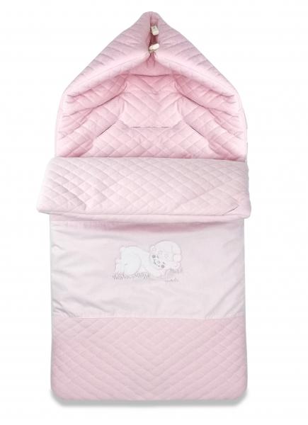 Bavlněný fusak Baby Nellys, velvet s výšivkou, 45 x 95 cm - růžový