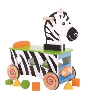 BIGJIGS Edukační dřevěné jezdítko, odrážedlo - Zebra