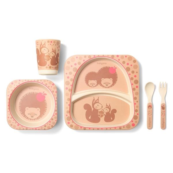 BabyOno 5 - dílná bambusová sada dětského nádobí - Ježek