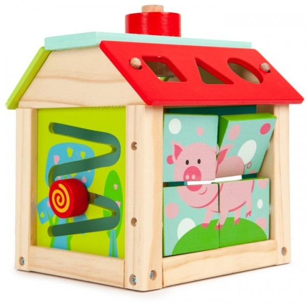 Eco toys Edukační dřevěná kostka - Farma