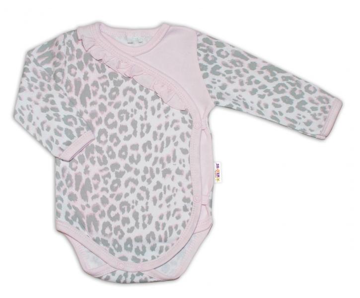 Baby Nellys Body dl. rukáv zap. bokem Gepardík - šedo/růžový, vel. 62