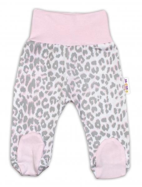 Bavlněné kojenecké polodupačky Baby Nellys ® - Gepardík - šedo/růžové