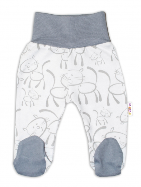 Bavlněné kojenecké polodupačky Baby Nellys ® - Kočičky - šedo/bílé