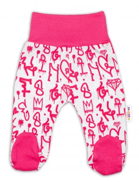 Bavlněné kojenecké polodupačky Baby Nellys ® - Princezna korunka - malinovo/bílé