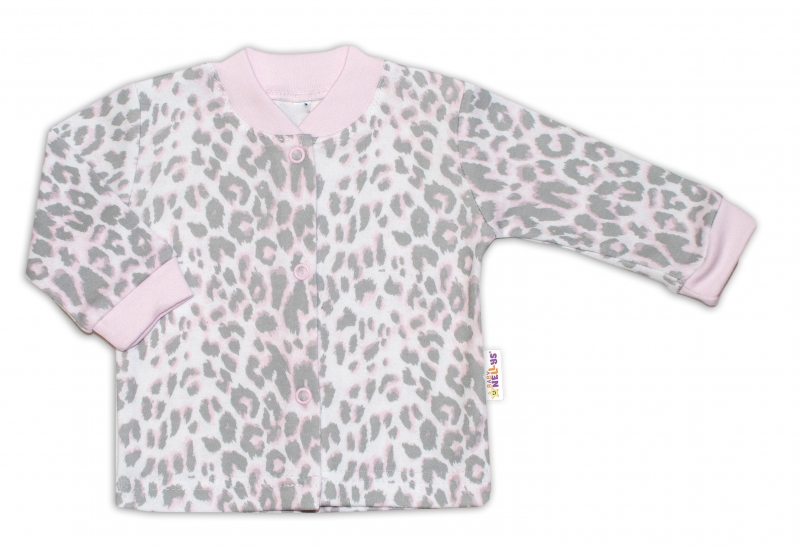Baby Nellys Bavlněná košilka zap. uprostřed Gepardík - šedo/růžová, vel. 56vel. 56 (1-2m)