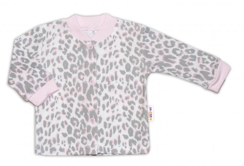 Baby Nellys Bavlněná košilka zap. uprostřed Gepardík - šedo/růžová, vel. 74, Velikost: 74 (6-9m)
