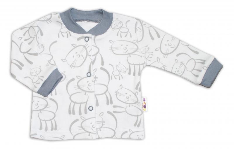 Baby Nellys Bavlněná košilka zap. uprostřed Kočičky - šedo//bílá, vel. 74