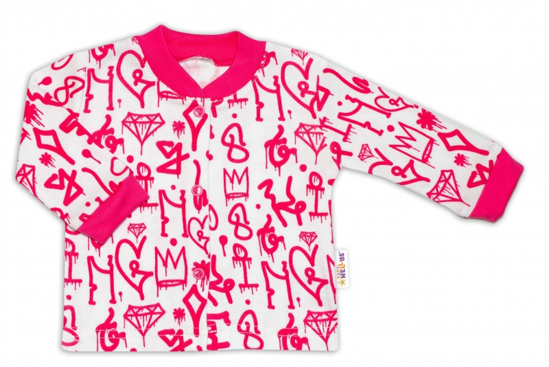Baby Nellys Bavlněná košilka zap. uprostřed Princezna korunka - malinovo/bílá, vel. 56