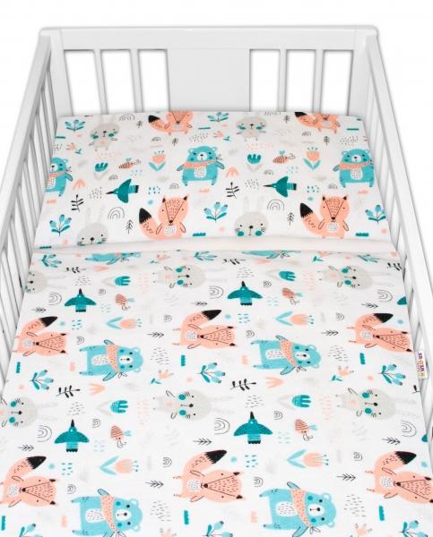 Baby Nellys 2 dílné flanelové povlečení - Forest girl - bílé, roz. 135x100cm