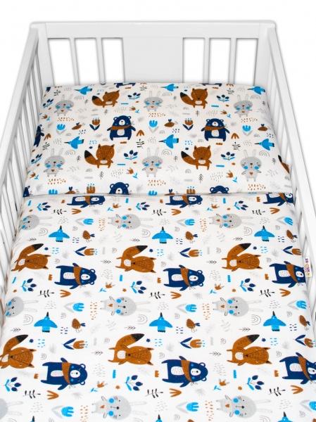 Baby Nellys 2 dílné flanelové povlečení - Forest boy - bílé, roz. 135x100 cm