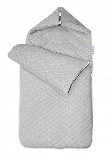Bavlněný fusak Baby Nellys prošívaný, velvet , 45 x 95 cm - šedý
