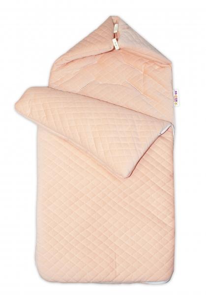 Bavlněný fusak Baby Nellys prošívaný, velvet , 45 x 95 cm - meruňkový