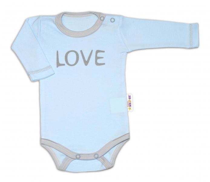 Baby Nellys Body dlouhý rukáv Love - modrével. 50 (0-1m)