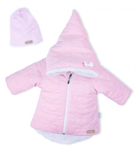 Luxusní prošívaná bundička, kabátek s čepičkou Nicol Velvet Skřítek - růžová, vel. 80