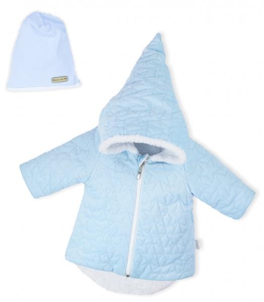 Luxusní prošívaná bundička, kabátek s čepičkou Nicol Velvet Skřítek - sv. modrá, vel. 68