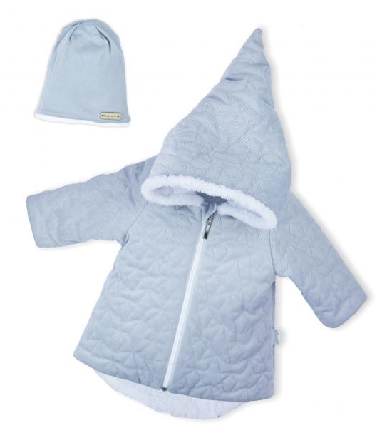 Luxusní prošívaná bundička, kabátek s čepičkou Nicol Velvet Skřítek - šedá, vel. 62