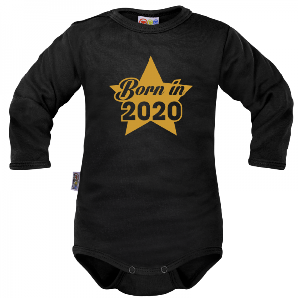 DEJNA Body dlouhý rukáv Born in 2020 - černé, vel. 74