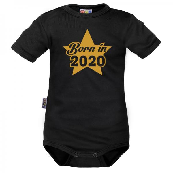 DEJNA Body krátký rukáv Born in 2020 - černé, vel. 74