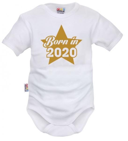 DEJNA Body krátký rukáv Born in 2020 - bílé, vel. 68