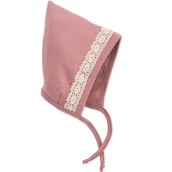Pinokio Kojenecká čepička na zavazování, Petit Lou  - pudrově růžová