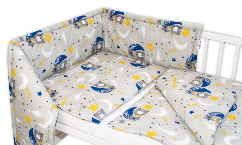 Baby Nellys 3-dílná sada Mantinel s povlečením - Medvídek a hvězdy, šedá, 135 x 100